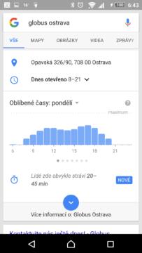 Aplikace Google: informace o nákupním středisku