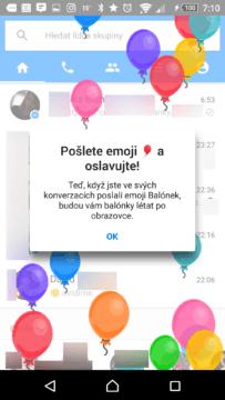 Facebook Messenger informuje o zdolání mety