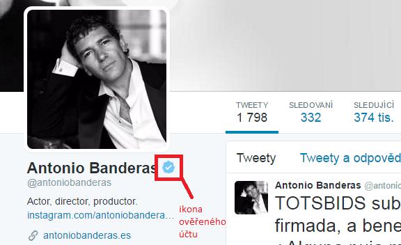 Ověřený Twitter účet Antonia Banderase