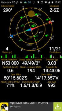 Vodafone Smart ultra 6 - aplikace GPS status