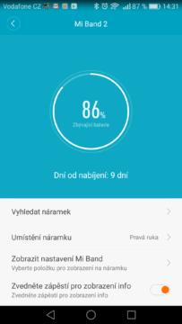 Xiaomi Mi Band 2 - aplikace, baterie