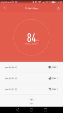 Xiaomi Mi Band 2 – aplikace, měření tepu