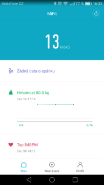 Xiaomi Mi Band 2 – aplikace, nastavení 1
