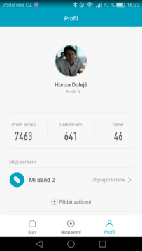 Xiaomi Mi Band 2 – aplikace, nastavení 3
