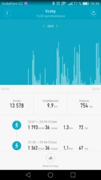 Xiaomi Mi Band 2 – aplikace, statistiky 1