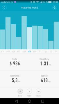 Xiaomi Mi Band 2 – aplikace, statistiky 3