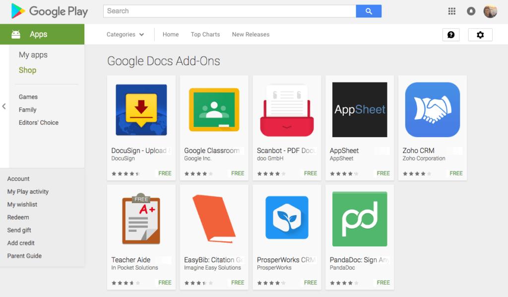 Doplňky Dokumentů Google jsou v Obchodě Play