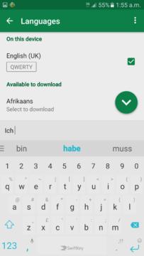 Klávesnice Swiftkey napovídá v německém jazyce
