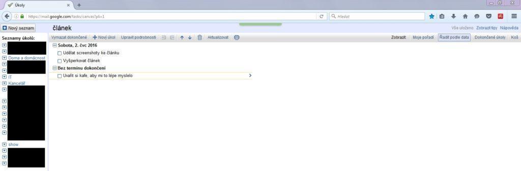 webové rozhraní správy úkolů v Google kalendáři