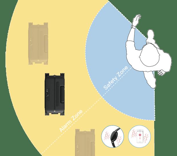Jestliže se od kufru vzdálíte, začne náramek vibrovat