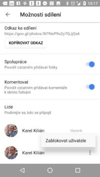 Fotky Google 1.25 umí blokovat uživatele