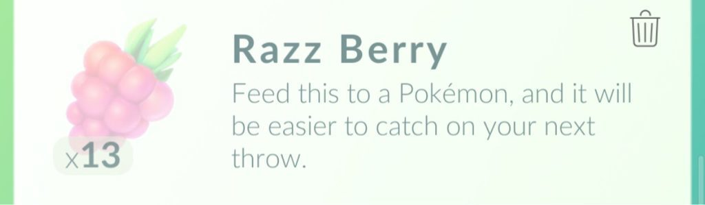 Chyb pri hrani Pokemon Go - razz berry