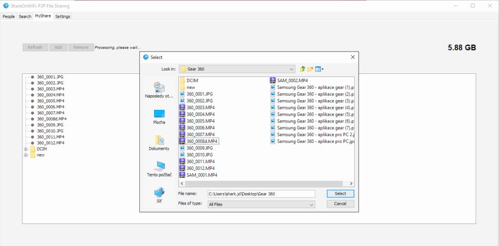 Jak posilat soubory pres Wi-Fi - shareonwifi PC 1