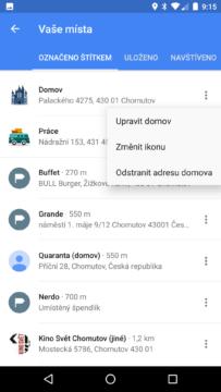 Mapy Google – Vaše místa – změna ikony