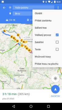 Mapy Google – navigace – menu trojtečky
