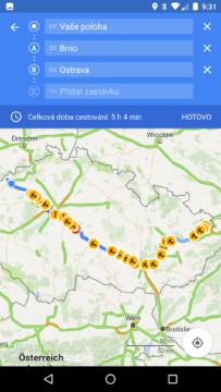 Mapy Google – přidání zastávky