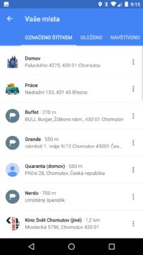 Mapy Google – vaše místa