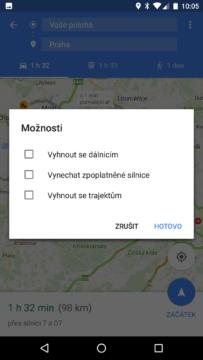 Mapy Google – vyhnout se dálnicím