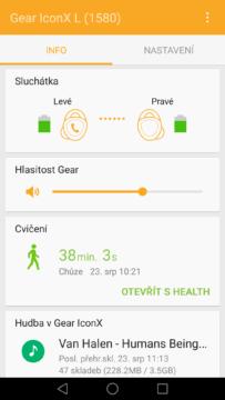 Samsung Gear IconX – aplikace Gear 1