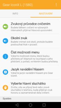 Samsung Gear IconX – aplikace Gear 3