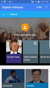 Kategorie Lidé ukazuje možnosti, které mohou být přidány.