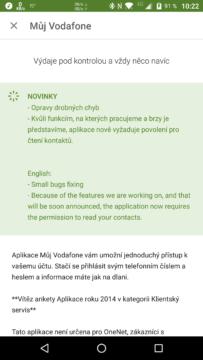 Novinky v aktualizaci Můj Vodafone