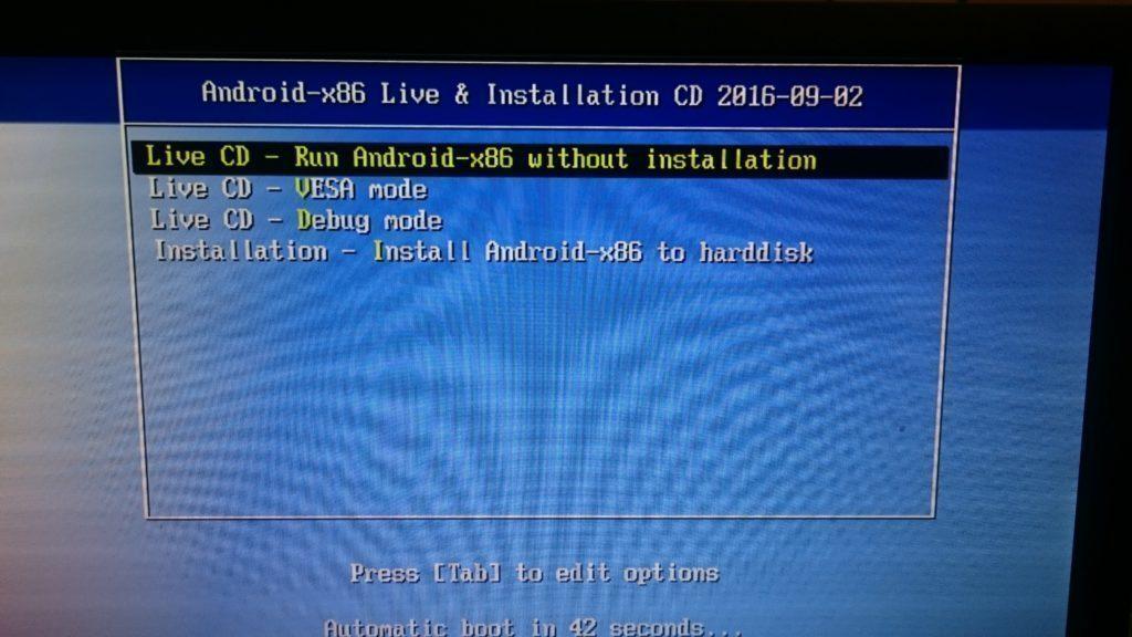 Na této obrazovce se nám Android 7.0 Nougat pro počítače zasekl