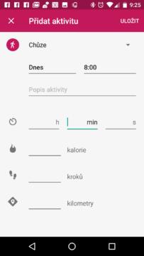 Rozhraní pro přidání aktivity v Google Fit 1.59