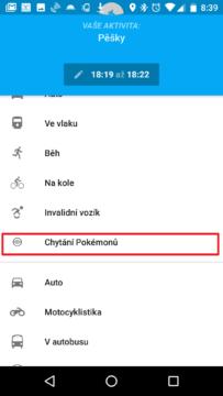 Z nabídky vyberte Chytání Pokémonů