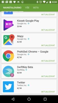 Aktualizace na Chrome 53 v Obchodě Play