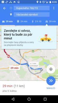 Mapy Google podporují přepravní služby