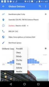 Oblíbené časy v Mapách Google