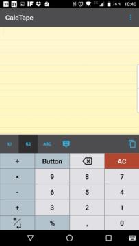 CalcTape: tlačítka vlevo