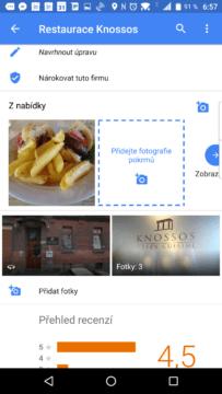 Nová sekce s fotkami jídel
