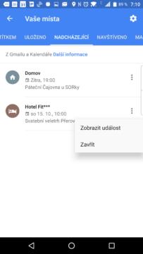 Kontextová nabídka plánované události