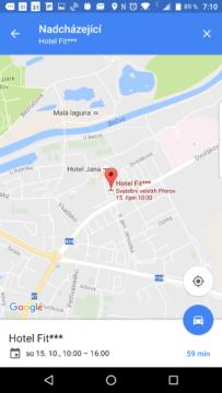 Navigace na místo plánované události