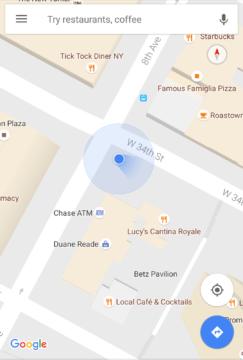 Modrá tečka v Mapách Google nově ukazuje směr pohledu