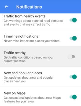 Mapy Google 9.36: nová položka Traffic Nearby