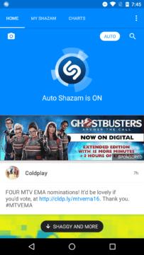 Spuštění aplikace Shazam