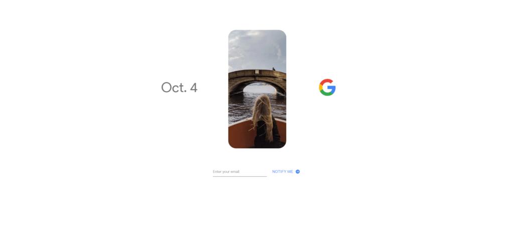 Představení telefonů Google Pixel věnoval Google samostatné stránky a tajemná socha