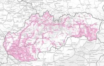 Slovensko: pokrytí rychlým mobilním připojením (21 Mbps)