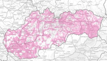 Slovensko: pokrytí základním mobilním připojením (236 kbps)