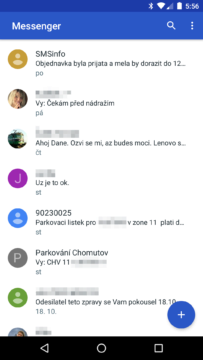 Google Messenger 2.0 - seznam konverzací
