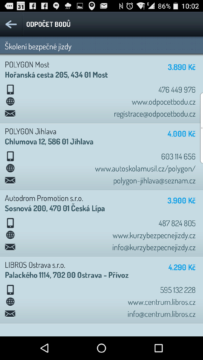 Seznam školících středisek
