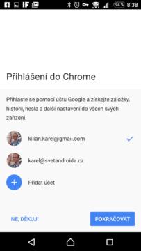 Přihlášení do prohlížeče Chrome