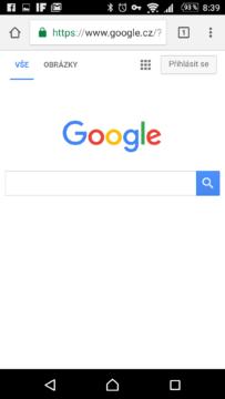 Zobrazení stránky vyhledávače Google