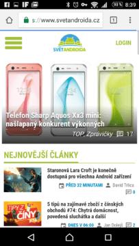 Zobrazení webu SvětAndroida.cz