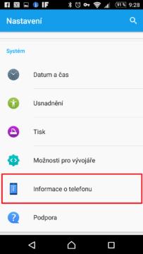Sekce Informace o telefonu