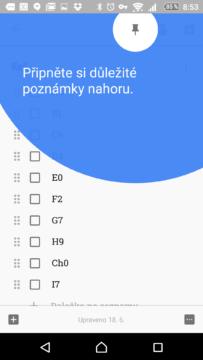 Nová verze Google Keep představuje špendlík