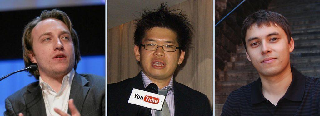 Zakladatelé YouTube Chad Hurley, Steve Chen a Jawed Karim